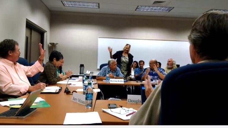 Lukela Ruddle is introduced to the Mauna Kea Management Board on Feb. 4, taken from video by Nanci Munroe. (BIVN)